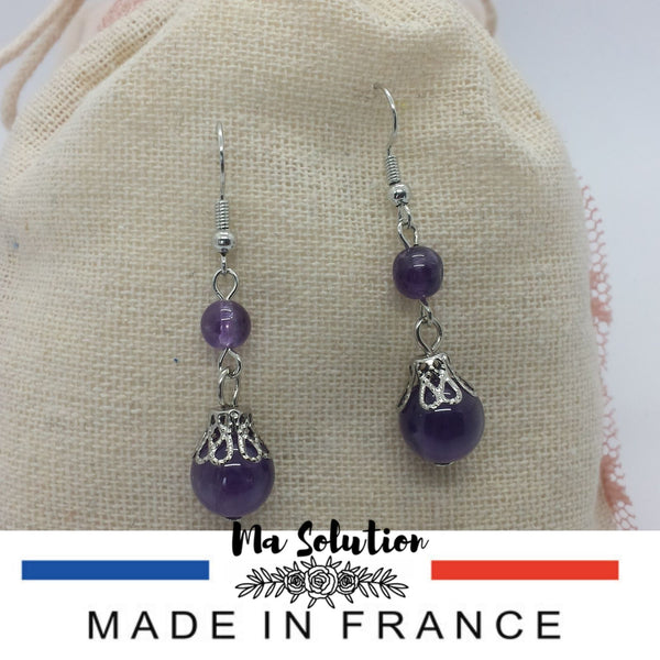 BOUCLES PENDANTE AMETHYSTE - Ma Solution Bijoux