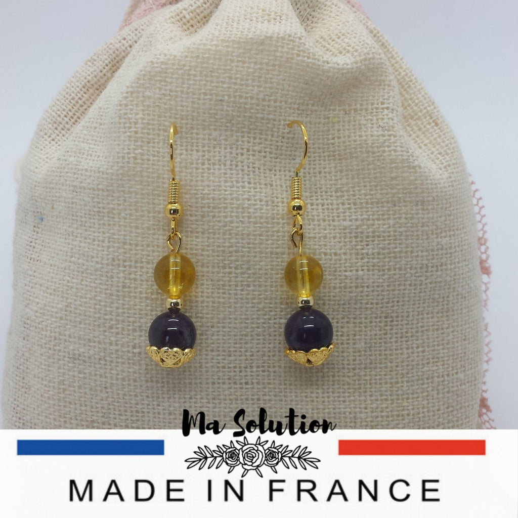 BOUCLES DUO AMETHYSTE/CITRINE