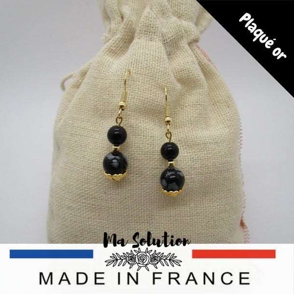 BOUCLES DUO D'OBSIDIENNE - Ma Solution Bijoux