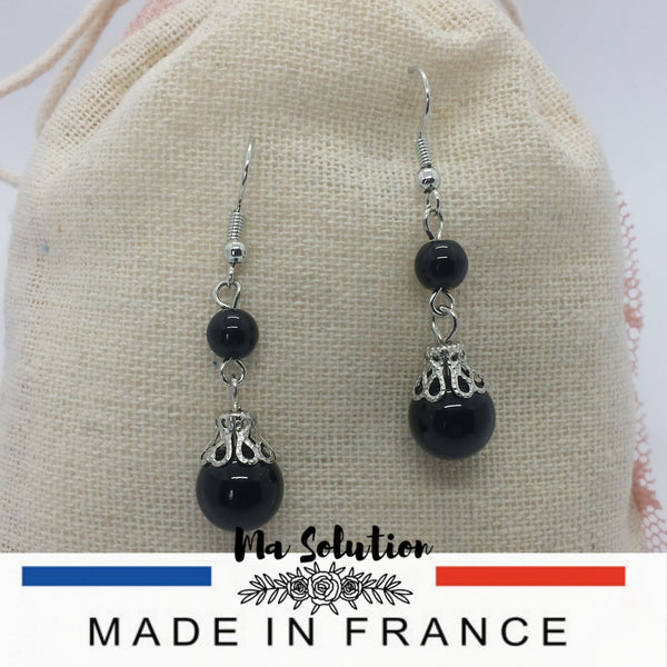 BOUCLES PENDANTE OBSIDIENNE - Ma Solution Bijoux
