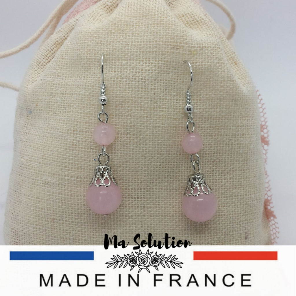 BOUCLES PENDANTE QUARTZ ROSE