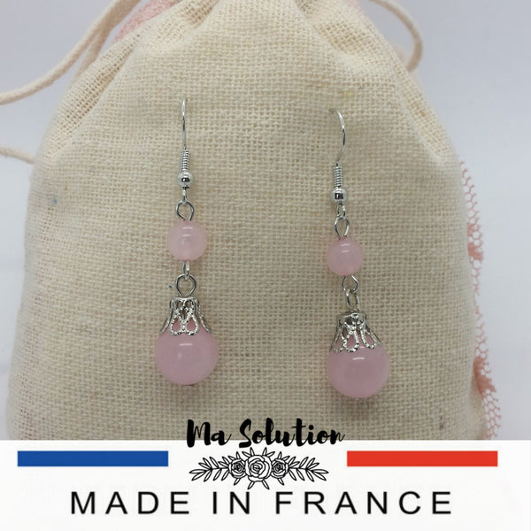 BOUCLES PENDANTE QUARTZ ROSE - Ma Solution Bijoux