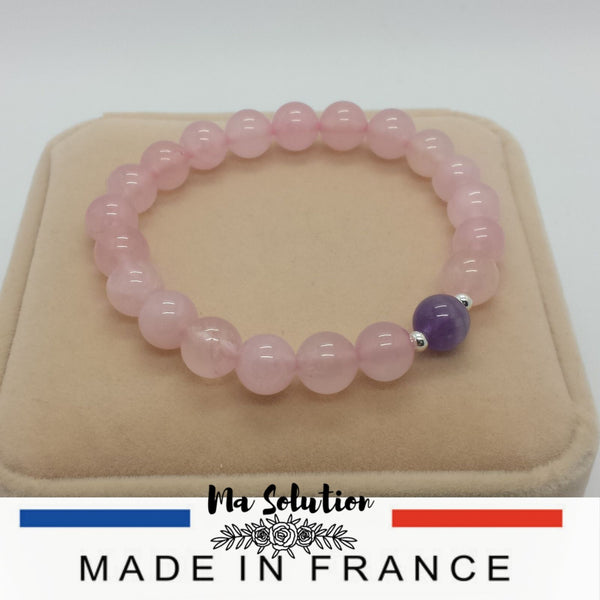 BRACELET DUO QUARTZ ROSE/AMETHYSTE - Ma Solution Bijoux