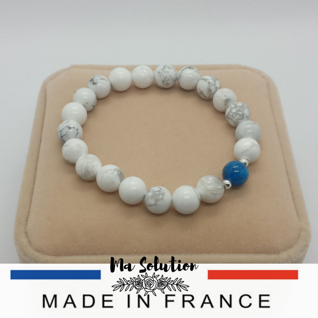 BRACELET DUO HOWLITE/APATITE - Ma Solution Bijoux