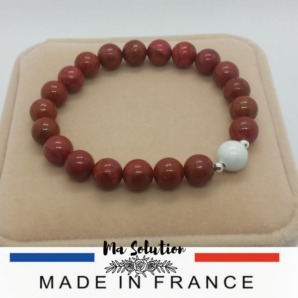 BRACELET DUO JASPE ROUGE/HOWLITE - Ma Solution Bijoux