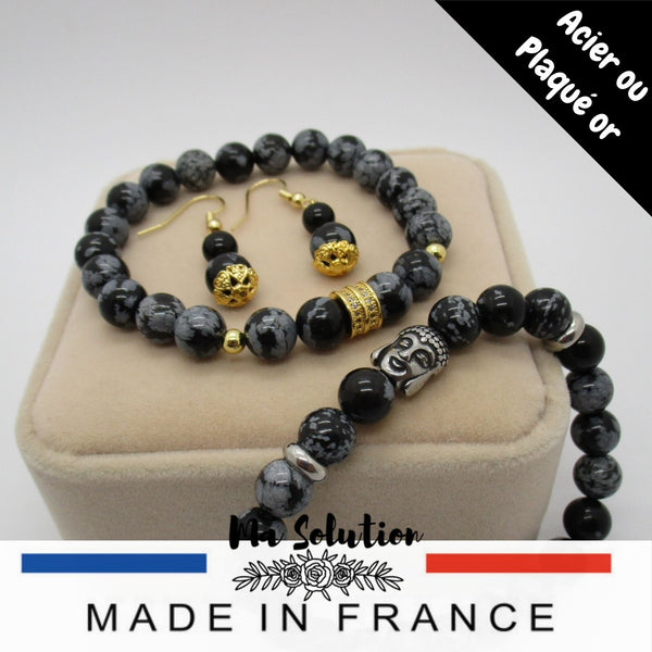 BRACELET OBSIDIENNE FLOCON DE NEIGE 8mm - Ma Solution Bijoux