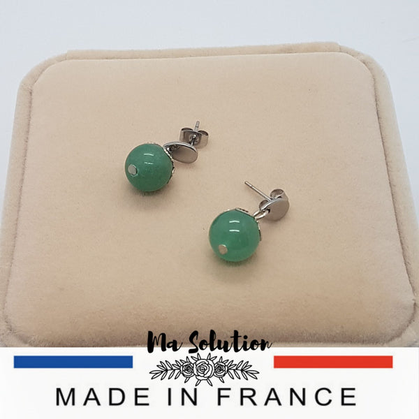 CLOUS OREILLES AVENTURINE 10 mm - Ma Solution Bijoux