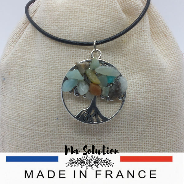 COLLIER ARBRE DE VIE AIGUE MARINE - Ma Solution Bijoux