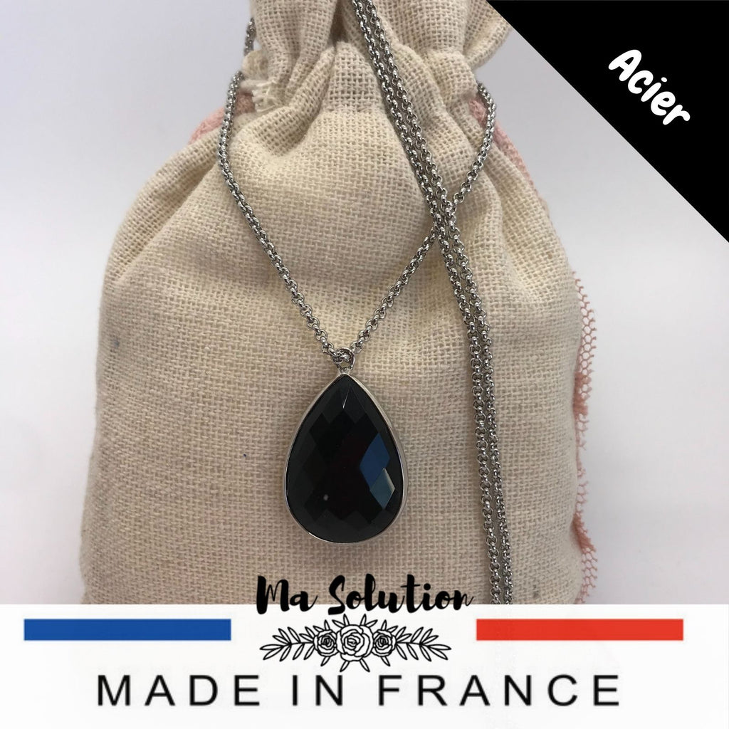 COLLIER LARME OBSIDIENNE NOIRE - Ma Solution Bijoux