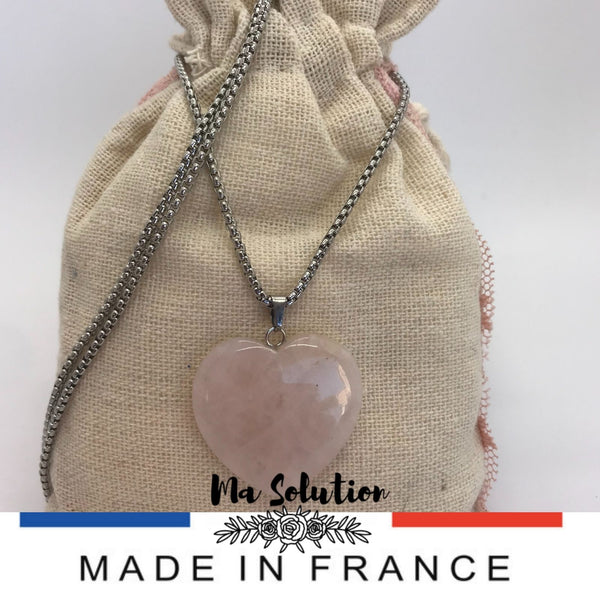 COLLIER COEUR QUARTZ ROSE