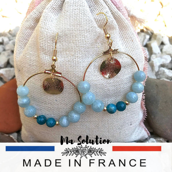 CREOLES AIGUE MARINE ET APATITE plaqué or - Ma Solution Bijoux