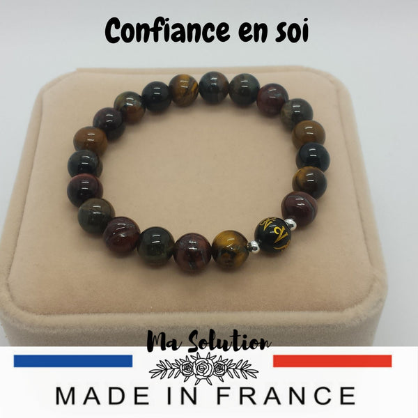BRACELET DUO OEIL DE TIGRE/OBSIDIENNE - Ma Solution Bijoux