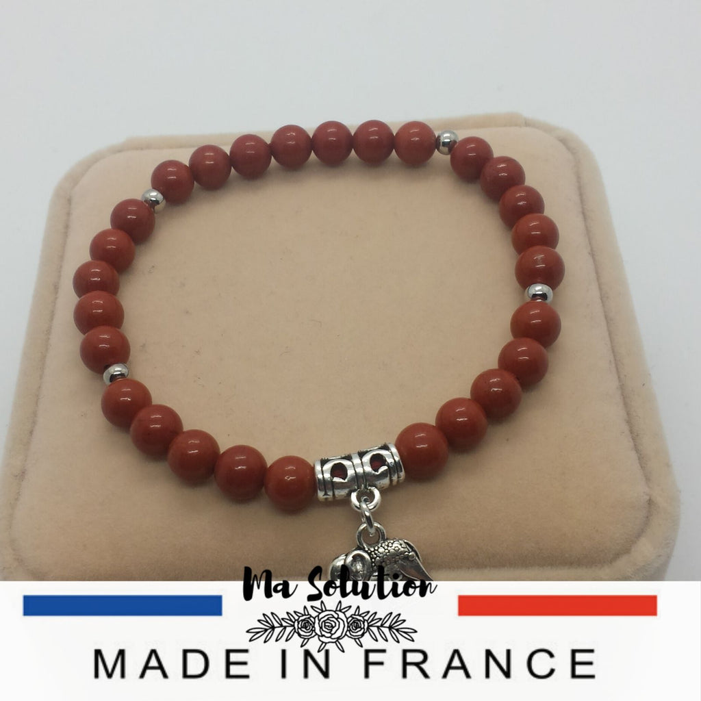 BRACELET JASPE ROUGE 6mm ¨couple¨ - Ma Solution Bijoux