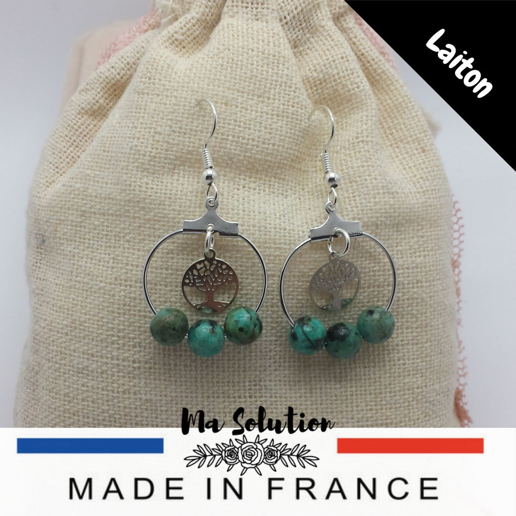 MINI CREOLES TURQUOISE AFRICAINE - Ma Solution Bijoux