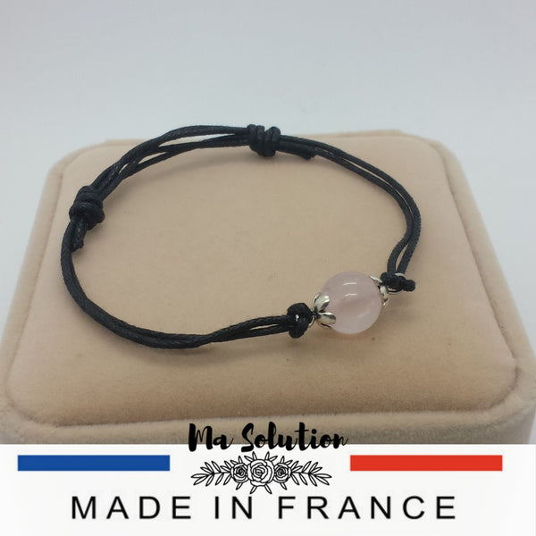 BRACELET AJUSTABLE UNE PIERRE QUARTZ ROSE