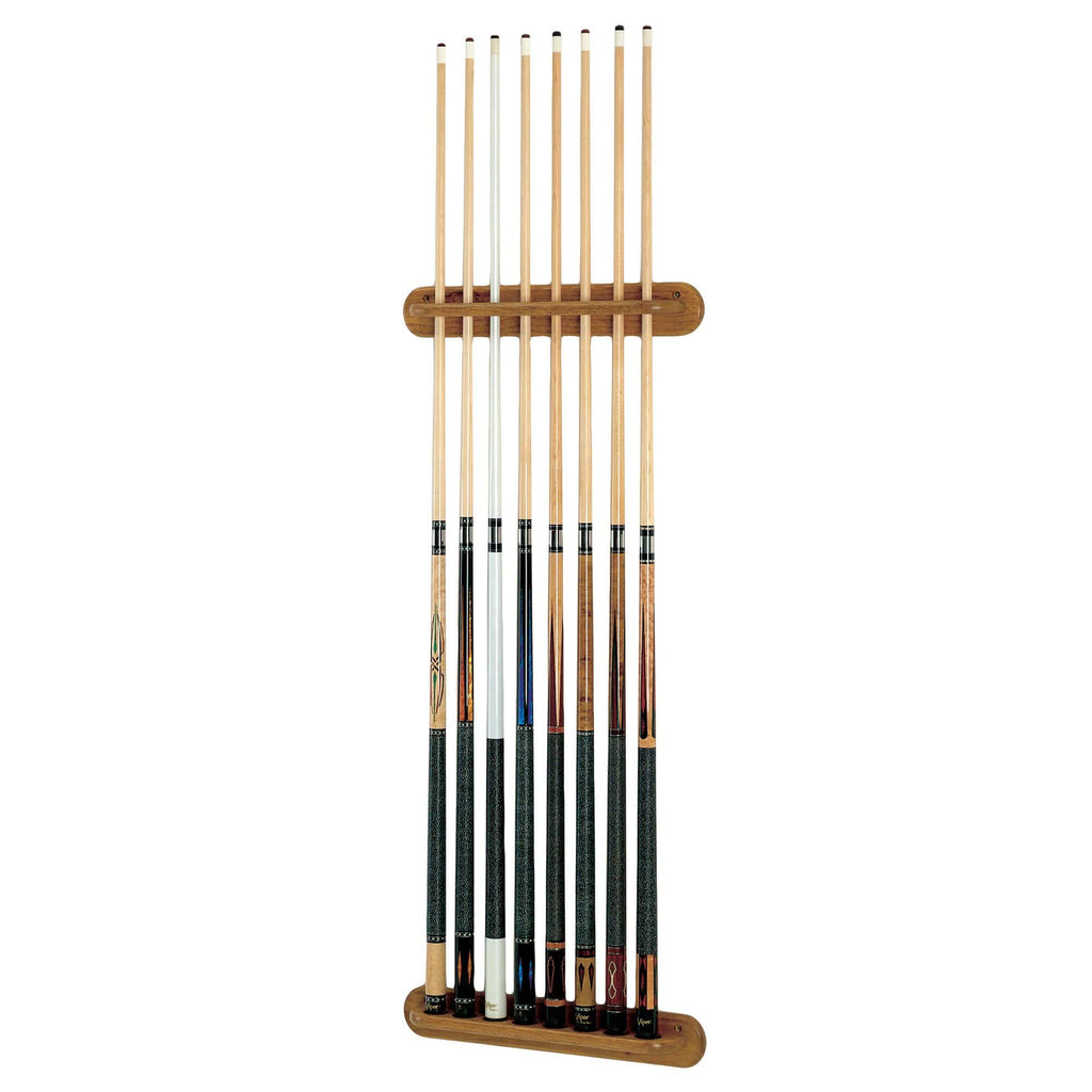 Viper Traditional Oak 8 Cue Wall Rack - Good Life Game Rooms