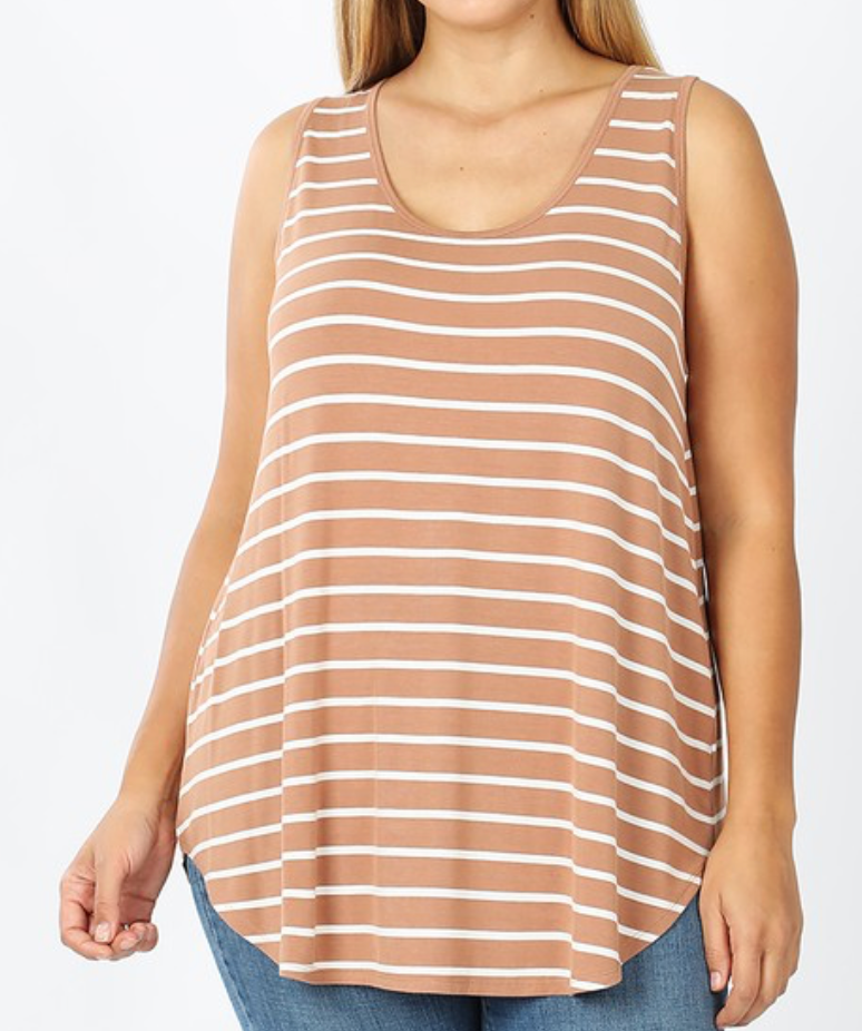 Plus Striped Sleeveless Shirt - Egg Shell/Ivory