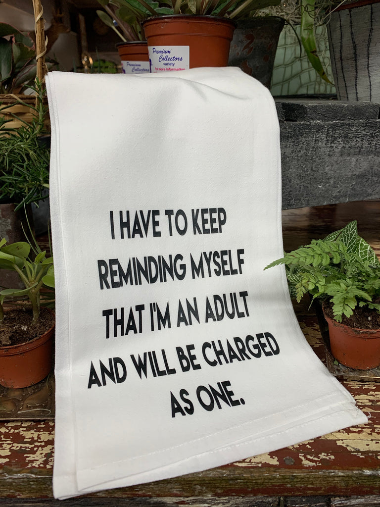 Charge as an Adult Tea Towel
