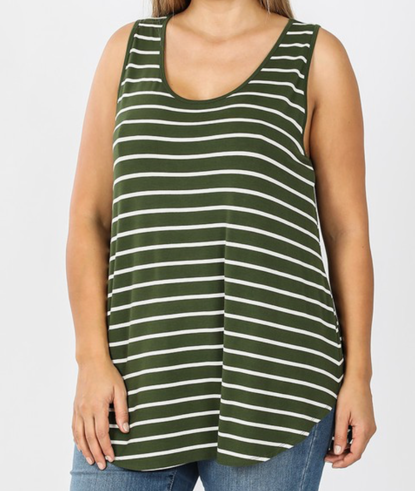 Plus Striped Sleeveless Shirt - Kelly Green/Ivory