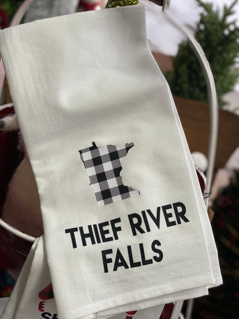 White + Black Plaid Thief River Falls Tea Towel