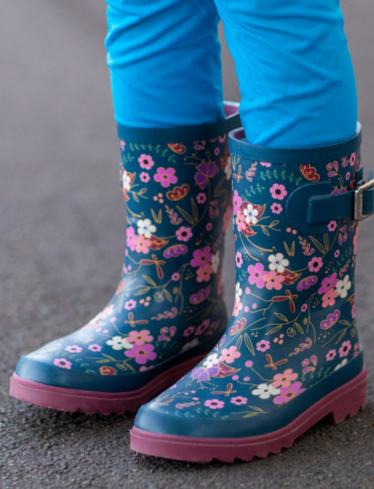 Midnight Floral Buckle Rubber Rain Boot