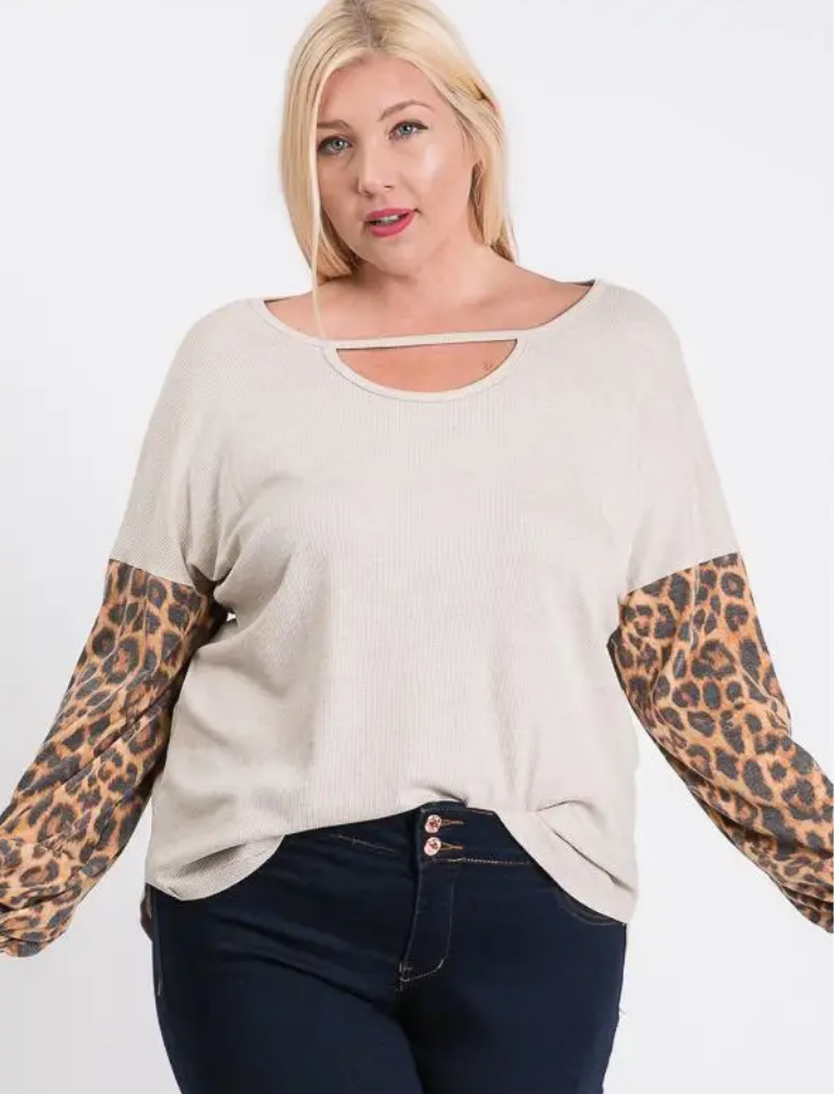 Plus Size Long Sleeve Round Hem Top
