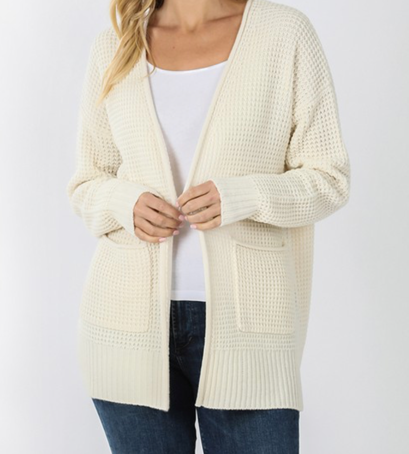 Plus Low Gauge Waffle Open Cardigan Sweater - Cream