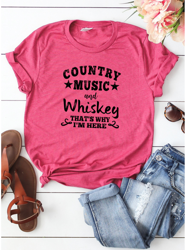 Country Music and Whiskey Tee