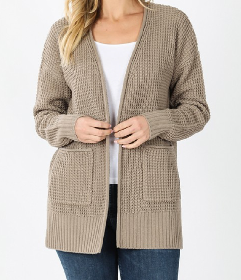 Plus Low Gauge Waffle Open Cardigan Sweater - Ash Mocha