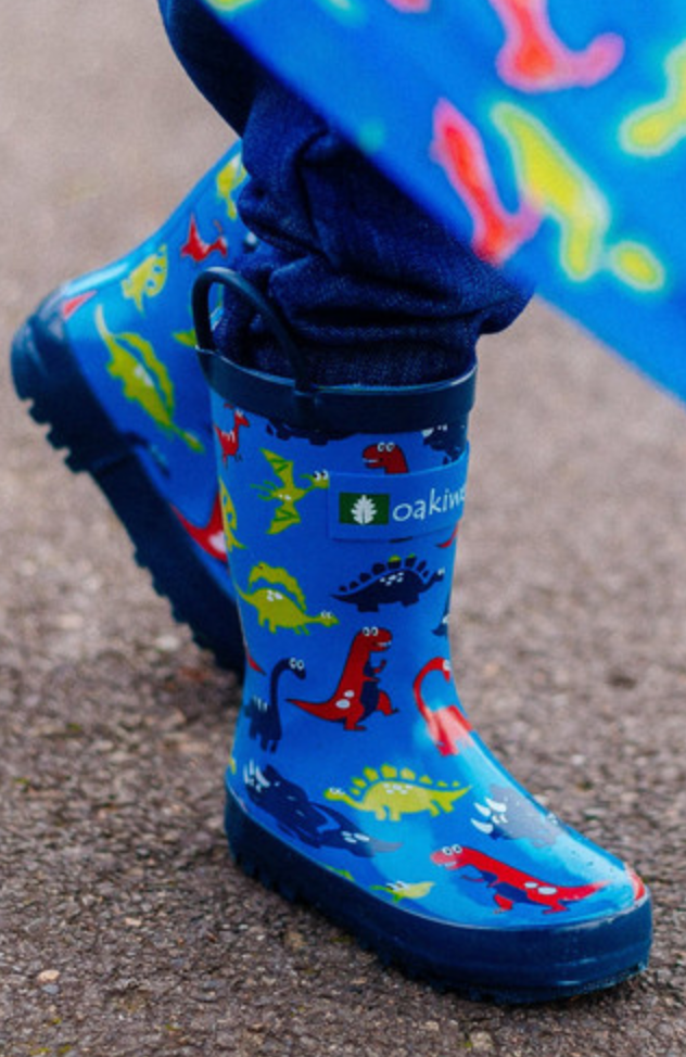 Children's Rubber Rain Boots, Blue Dinosaurs