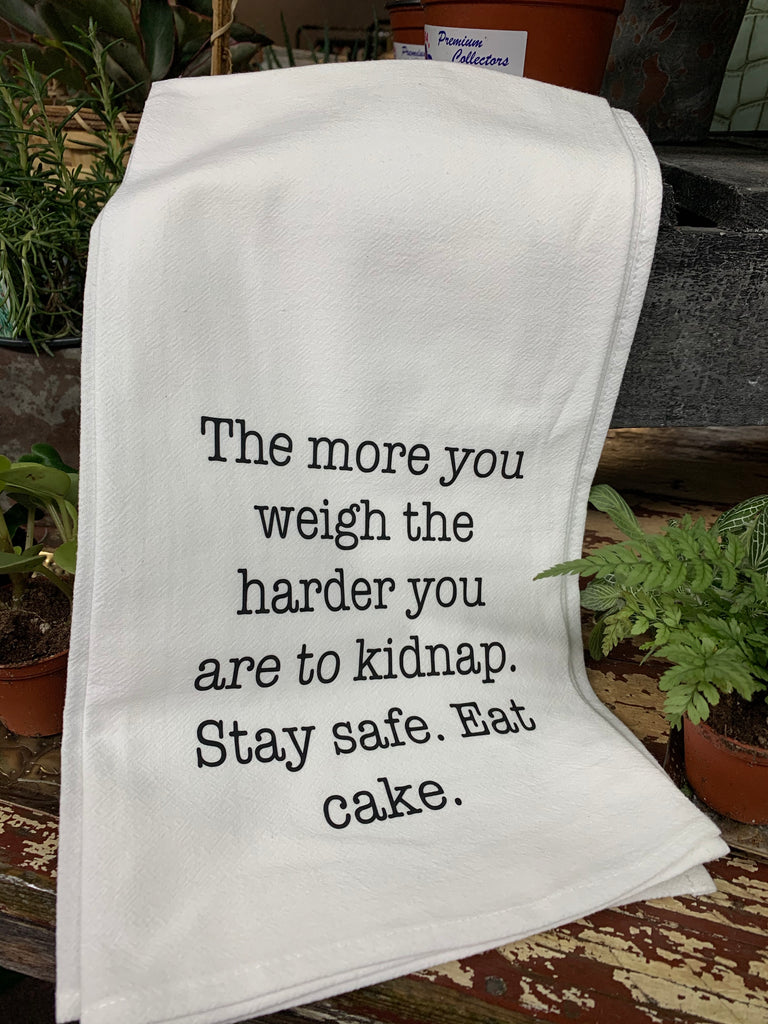 Stay Safe, Eat Cake Tea Towel