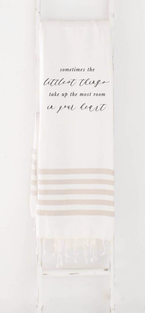 Sometimes The Littlest Things Lightweight Throw Blanket | Tan Striped