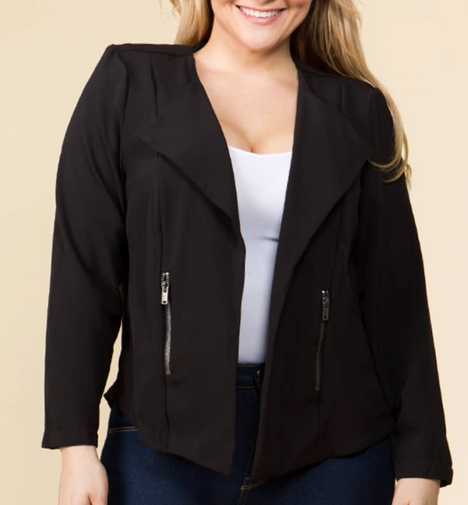 Draped Jacket with Zipper Pockets - Black