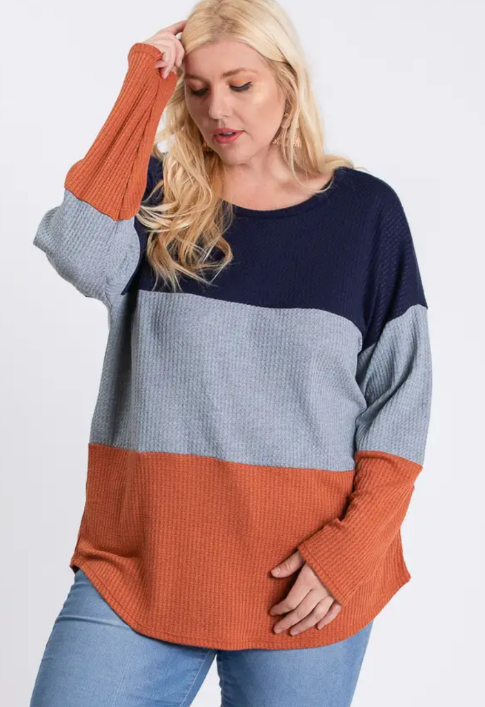 Plus Size LONG SLEEVE COLOR BLOCKED ROUND NECK TOP