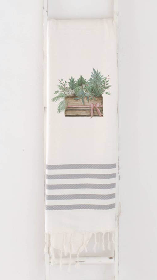 Greens In Crate Watercolor Throw Blanket | Grey Striped