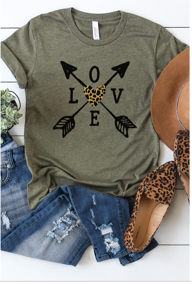Leopard Love Arrows - Heather Olive Graphic Tee