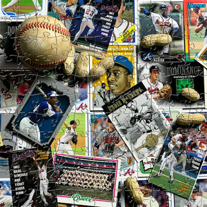 Wooden Atlanta Braves Baseball Card Puzzles