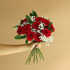 Valentine's Day Dozen Red Roses Bouquet