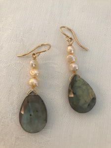 Large Teardrop Gold Filled Labradorite & 3 Pearls Earrings