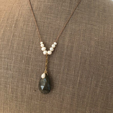 Load image into Gallery viewer, Labradorite Chain Drop Necklace