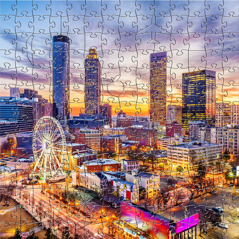 Colorful Image of Atlanta 3D or thick wooden puzzle with pieces that resembles the special things about atl