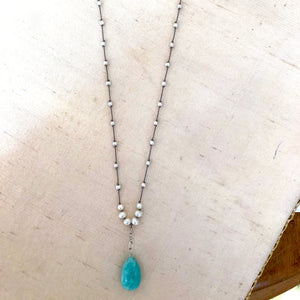 Amazonite Teardrop Necklace