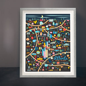 Playfully Sophisticated Atlanta Map 11x14