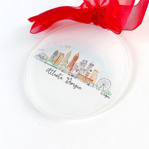 ATL Watercolor Skyline Acrylic Ornament