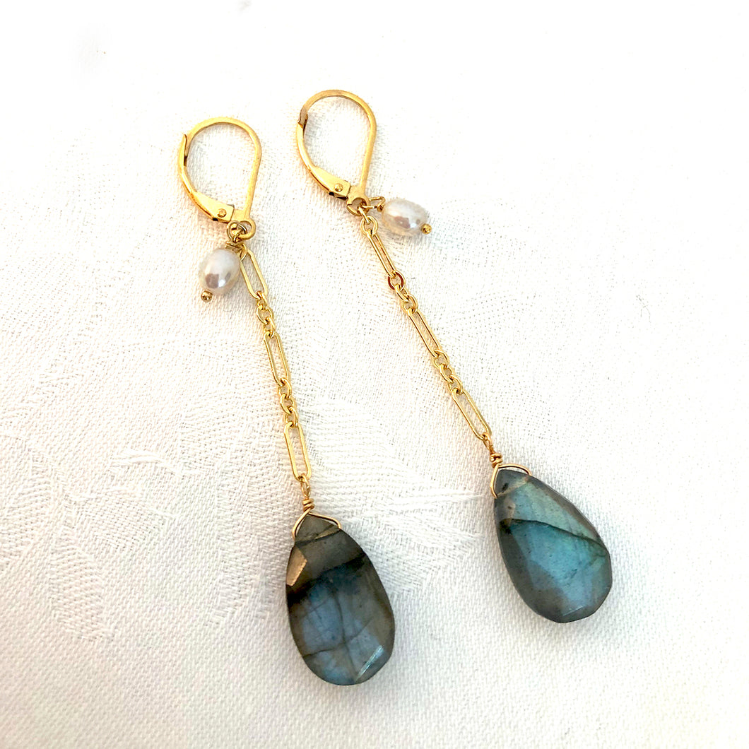 Gold Chain Labradorite  Drop Earrings Pearl Accent