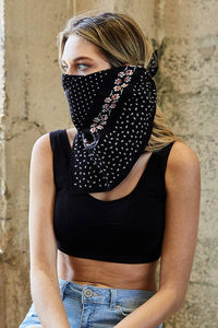 Black Dot and Floral Border Bandana