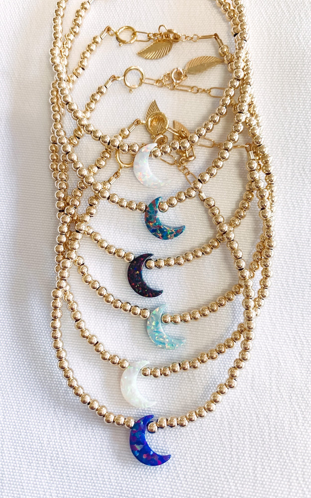 14k Gold-Filled Opal Moon Bracelet