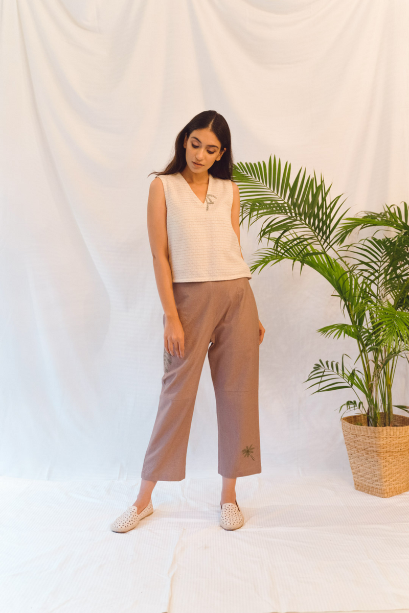Sui | BEACH ME hand-embroidered, herbal-dyed recycled fabric trousers from Flow Winter Collection 2019