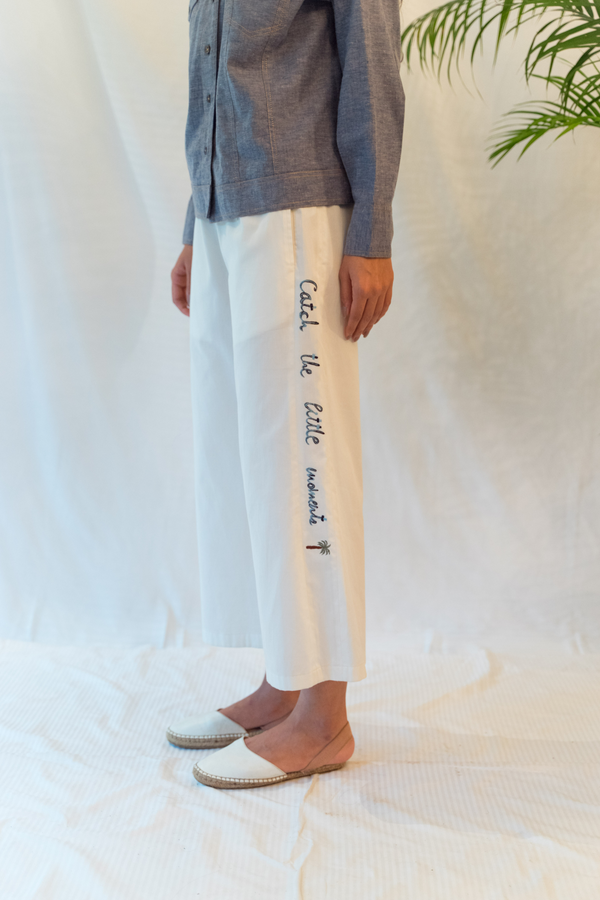 Sui | CATCH THE MOMENTS embroidered organic cotton pants from Flow Winter Collection 2019