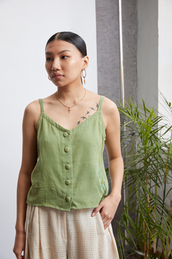 Color Me Green handwoven organic cotton top